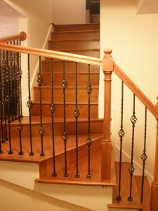 We installed this railing system and refinished the stair treads